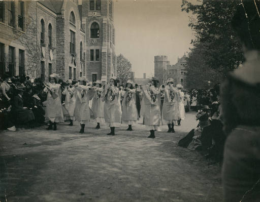 Trumpeting heralds in the May Day parade, 1904