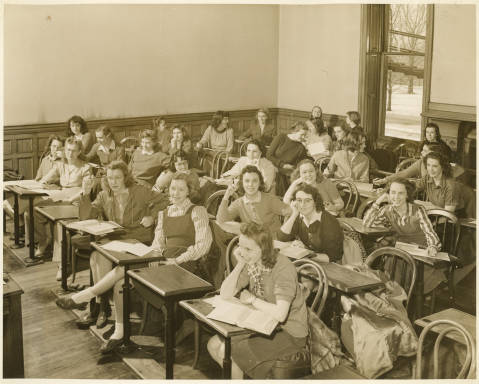 Bryn Mawr College students in a classroom