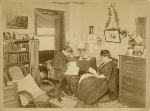 Anna Powers and Umeko Tsuda in a Bryn Mawr College dorm room